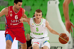 Aleksander Rasic of Serbia and Luka Rupnik of Slovenia during friendly basketball match between National teams of Slovenia and Serbia of Adecco Ex-Yu Cup 2012 as part of exhibition games 2012, on August 5, 2012, in Arena Stozice, Ljubljana, Slovenia. (Photo by Matic Klansek Velej / Sportida)