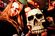 """""""Cradle Of Filth"""" being scary with a skull, UK 2000's"""