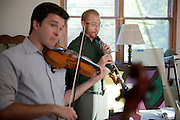 Stephen Miahky, left, and Dwight Parry, right, rehearse before their performace at Arts West during Ohio University's Mozart on the Green Chamber Music Festival and Academy on August 7, 2012 in Athens, Ohio.