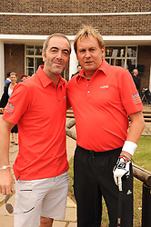Left to right, JAMES NESBITT and PHILIP GLENISTER at the Mini Masters Golf tournament in aid of LEUKA - London's celebrity golf tournament was held at Duke's Meadow Golf Club, Dan Mason Drive, London W4 on 16th July 2010.