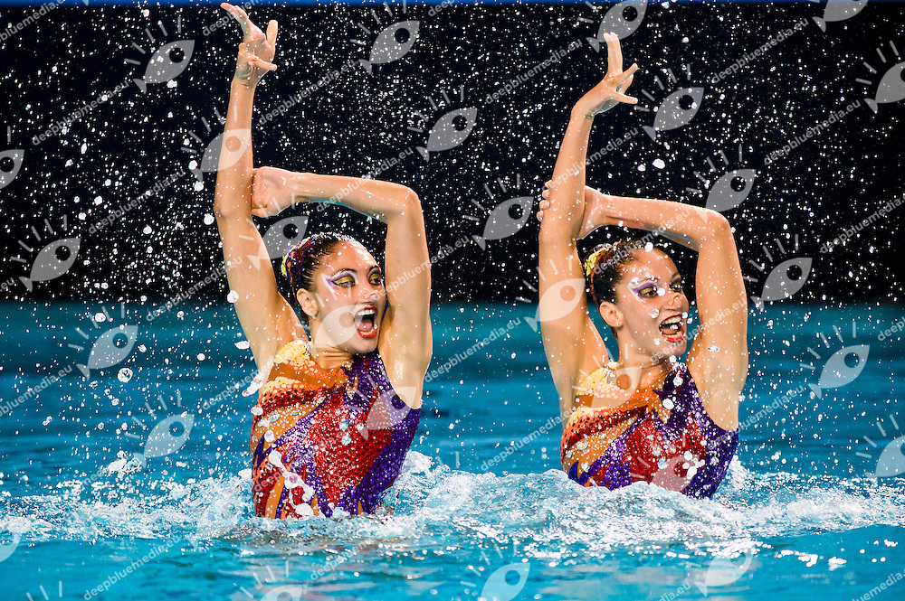 Evangelia Platanioti and Despoina Solomou (GRE).European Synchronised Swimming Championships Eindhoven 2012.Duets Technical Routine - Preliminaries .Eindhoven (Netherlands), 24/05/2012, Pieter Van Den Hoogenband Swimming Stadium.ph. Giorgio Perottino / Deepbluemedia