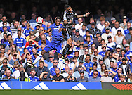 Baba Rahman of Chelsea and Danny Simpson of Leicester City during the Barclays Premier League match at Stamford Bridge, London<br /> Picture by Andrew Timms/Focus Images Ltd +44 7917 236526<br /> 14/05/2016