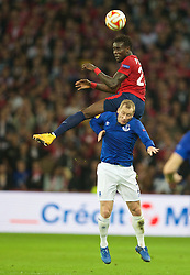 LILLE, FRANCE - Thursday, October 23, 2014: Lille OSC's Pape Souare in action against Everton's Tony Hibbert during the UEFA Europa League Group H match at Stade Pierre-Mauroy. (Pic by David Rawcliffe/Propaganda)