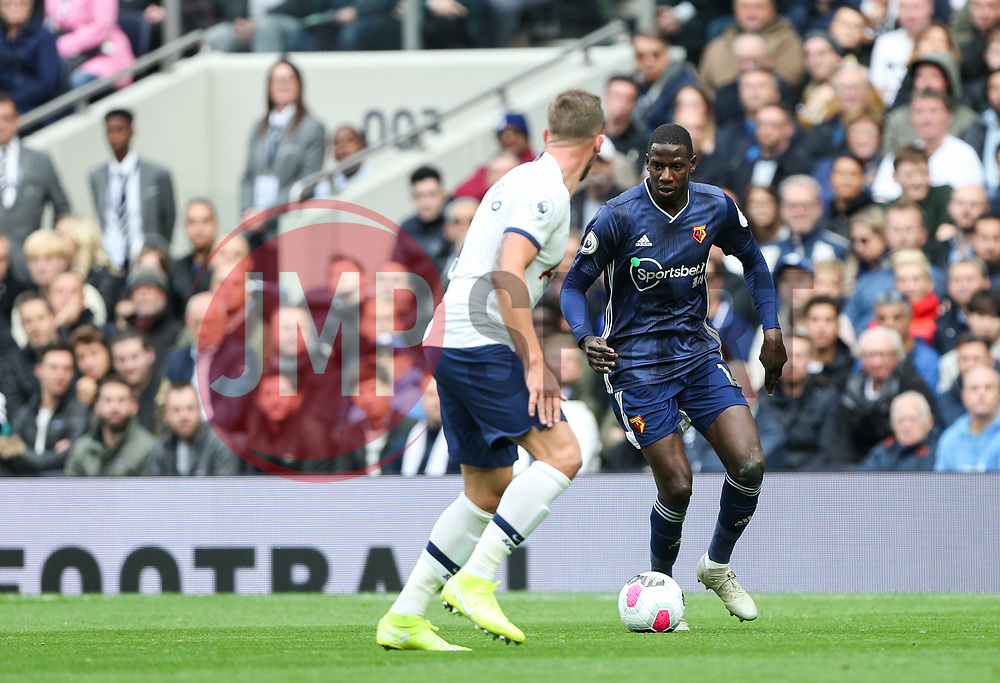 Abdoulaye Doucoure of Watford runs at Toby Alderweireld of Tottenham Hotspur - Mandatory by-line: Arron Gent/JMP - 19/10/2019 - FOOTBALL - Tottenham Hotspur Stadium - London, England - Tottenham Hotspur v Watford - Premier League