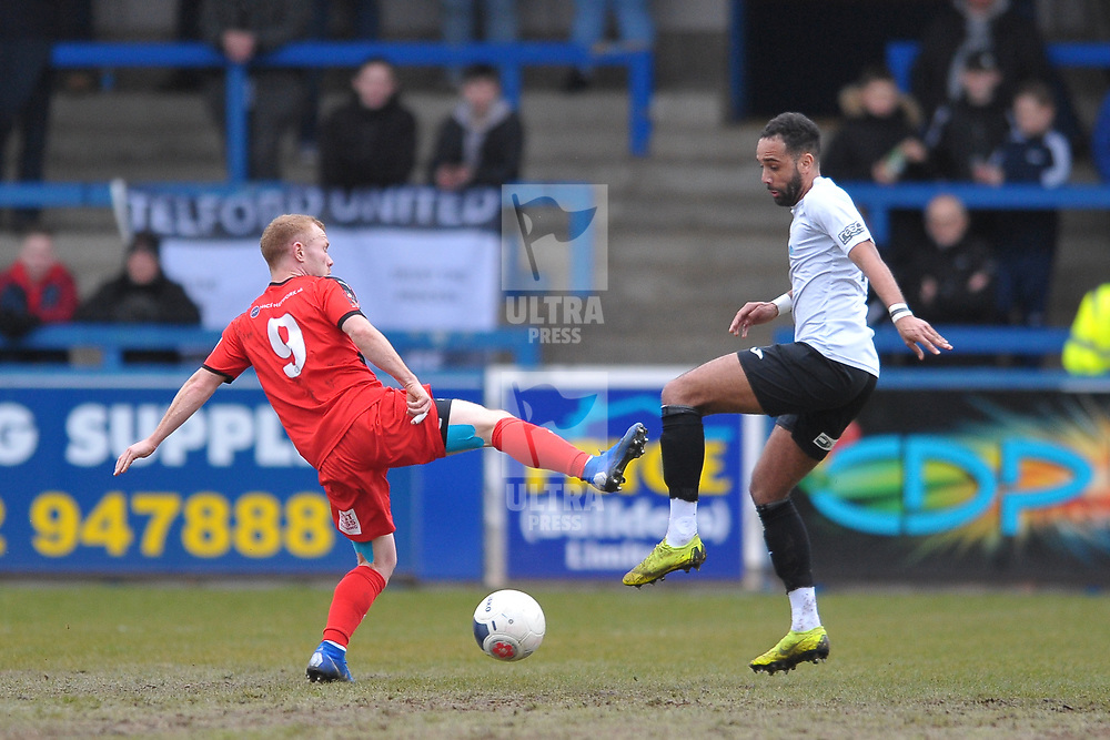 TELFORD COPYRIGHT MIKE SHERIDAN Brendon Daniels of Telford during the Vanarama Conference North fixture between AFC Telford United and Darlington at The New Bucks Head on Saturday, March 7, 2020.<br /> <br /> Picture credit: Mike Sheridan/Ultrapress<br /> <br /> MS201920-049
