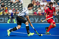 Germany's Benedikt Fuerk drives into the circle. Belgium v Germany - Unibet EuroHockey Championships, Lee Valley Hockey & Tennis Centre, London, UK on 22 August 2015. Photo: Simon Parker