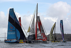 November 3, 2017 - Lisbon, Portugal - The fleet in action during the Volvo Ocean Race 2017-2018 In-port Race at the Tagus River in Lisbon, Portugal on November 3, 2017. (Credit Image: © Pedro Fiuza/NurPhoto via ZUMA Press)