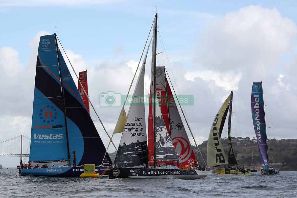 November 3, 2017 - Lisbon, Portugal - The fleet in action during the Volvo Ocean Race 2017-2018 In-port Race at the Tagus River in Lisbon, Portugal on November 3, 2017. (Credit Image: © Pedro Fiuza/NurPhoto via ZUMA Press)