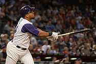 PHOENIX, AZ - APRIL 27:  Yasmany Tomas #24 of the Arizona Diamondbacks hits a two run homer in the fourth inning against the San Diego Padres at Chase Field on April 27, 2017 in Phoenix, Arizona.  (Photo by Jennifer Stewart/Getty Images)