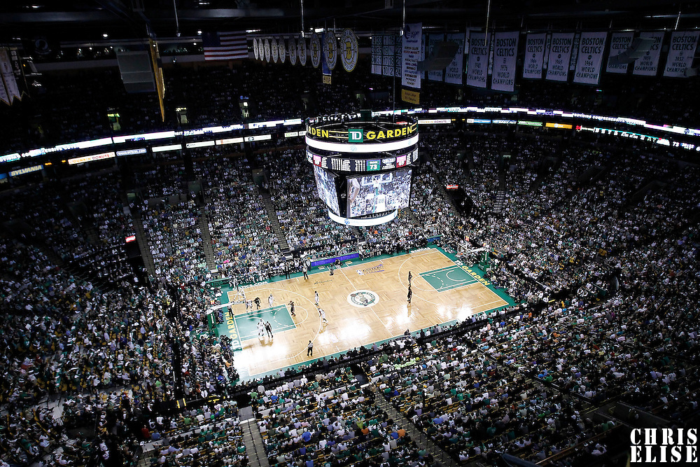 03 June 2012: General view of the TD Garden during the Boston Celtics 93-91 overtime victory over the Miami Heat, in Game 4 of the Eastern Conference Finals playoff series, at the TD Banknorth Garden, Boston, Massachusetts, USA.