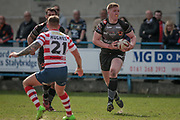 Liam Kirk (Bradford Bulls) during the Kingstone Press Championship match between Oldham Roughyeds and Bradford Bulls at Bower Fold, Oldham, United Kingdom on 2 April 2017. Photo by Mark P Doherty.