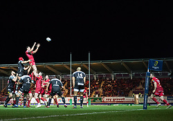 Scarlets' Aaron Shingler claims the lineout<br /> <br /> Photographer Simon King/Replay Images<br /> <br /> European Rugby Champions Cup Round 6 - Scarlets v Toulon - Saturday 20th January 2018 - Parc Y Scarlets - Llanelli<br /> <br /> World Copyright © Replay Images . All rights reserved. info@replayimages.co.uk - http://replayimages.co.uk