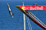 Ginger Huber of USA during the Red Bull Cliff Diving World Series 2018 on September 23, 2018 in Polignano a Mare, Italy - Photo Marco Verri / ProSportsImages / DPPI