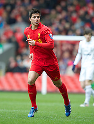 LIVERPOOL, ENGLAND - Easter Monday, April 1, 2013: Liverpool's Joao Carlos Teixeira in action against Tottenham Hotspur during the Under 21 FA Premier League match at Anfield. (Pic by David Rawcliffe/Propaganda)