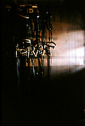 Equestrian bits and bridles hung on a wood-paneled wall catch rays of sun from a nearby window.