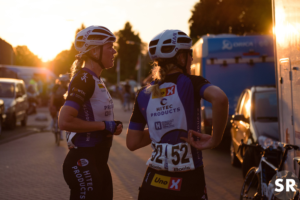 End of day one at the Hitec Products camper at the 103 km Stage 1 of the Boels Ladies Tour 2016 on 30th August 2016 in Tiel, Netherlands. (Photo by Sean Robinson/Velofocus).