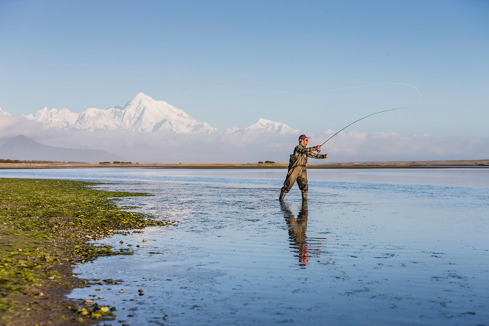 Darren Berrecloth fly fishes during the making of Riding The Tatshenshini in Dry Bay, Alaska on September 10, 2016.
