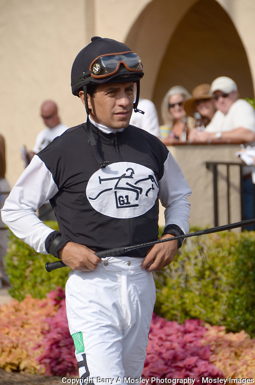 Triple-Crown winning Jockey Victor Espinoza in Del Mar  Paddock, Photograph by Barry A Mosley Sports Photography which is located in Lincoln, Nebraska.