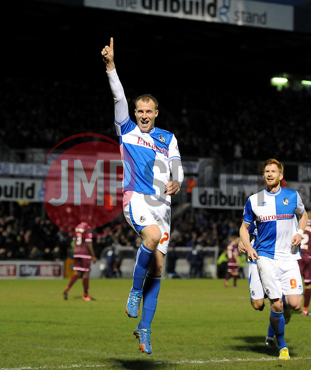 Bristol Rovers' David Clarkson celebrates - Photo mandatory by-line: Joe Meredith/JMP - Tel: Mobile: 07966 386802 21/12/2013 - SPORT - FOOTBALL - Memorial Stadium - Bristol - Bristol Rovers v Portsmouth - Sky Bet League Two