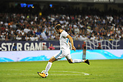 CHICAGO, IL - AUGUST 02: Real Madrid forward Borja Mayoral (21) scores a goal in the second half during a soccer match between the MLS All-Stars and Real Madrid on August 2, 2017, at Soldier Field, in Chicago, IL. The game ended in a 1-1 tie with Real Madrid winning on penalty kicks 4-2. (Photo by Patrick Gorski/Icon Sportswire)