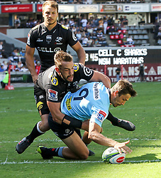 Durban. 030318. Jake Gordoni of the Waratahs  scores during the Super Rugby match between Cell C Sharks and Waratahs at Kings Park on March 03, 2018 in Durban, South Africa. Picture Leon Lestrade/African News Agency/ANA