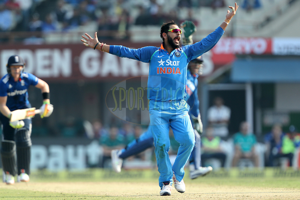 Yuvraj Singh of India appeals for the wicket of Sam Billings of England during the third One Day International (ODI) between India and England  held at Eden Gardens in Kolkata on the 22nd January 2017<br /> <br /> Photo by: Ron Gaunt/ BCCI/ SPORTZPICS