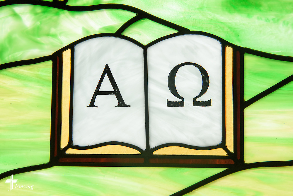 Stained glass of Alpha and Omega at Mount Olive Lutheran Church, on Thursday, March 3, 2016, in Loveland, Colo. LCMS Communications/Erik M. Lunsford