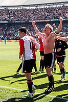 ROTTERDAM - Feyenoord - Heracles , Voetbal , Seizoen 2016/2017 , Eredivisie , Stadion Feyenoord - De Kuip , 14-05-2017 , Kampioenswedstrijd , eindstand 3-1 , Feyenoord speler Dirk Kuyt viert zijn hattrick goal 3-0