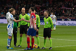October 27, 2018 - Madrid, Madrid, Spain - Illarra (L) and Godin (R)..during the match between Atletico de Madrid vs Real Sociedad. Atletico de Madrid won by 2 to 0 over Real Sociedad whit goals of Godin and Filipe Luis. (Credit Image: © Jorge Gonzalez/Pacific Press via ZUMA Wire)