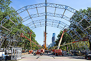 Philadelphia, Pennsylvania - September 16, 2015: Prepping for Pope Francis's visit to Philadelphia, workers and cranes erect the altar in Eakins Oval Wednesday September 16, 2015. <br /> <br /> Scott Mirkin's company ESM is heading the production of The World Meeting Of Families and Pope Francis's visit to Philadelphia this Fall. The events will take place along the Benjamin Franklin Parkway.<br /> <br /> CREDIT: Matt Roth for The New York Times<br /> Assignment ID: 30179397A