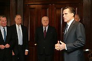 Massachusetts' Govenor Mitt Romney addressed the Bond Club of New York on March 14, 2006. The Luncheon Event took place at the Union League Club in New York...Governor Romney has been an effective leader in both the business and public service worlds. With the 2002 Winter Olympics mired in controversy and facing serious financial crisis, Governor Romney was asked to become President and CEO of the Salt Lake Organizing Committee. Although the challenge seemed daunting, he was compelled to assume the task by both the urgings of his wife, Ann, and by the memory of his father, George Romney, who had been a successful businessman, three-term Michigan Governor and tireless advocate of volunteerism.  ..In his three years in Salt Lake, Governor Romney erased a $379 million operating deficit, organized 23,000 volunteers, galvanized community spirit, oversaw an unprecedented security mobilization to ensure public safety and led one of the most successful Olympics in our country's history...From 1978 to 1984, Mr. Romney was a Vice President of Bain & Company, Inc., the Boston-based management consulting firm. Later, as the company's CEO, he led it through a highly successful turnaround. Today, Bain & Company has 25 offices worldwide and over 2000 employees...In 1984, Mr. Romney founded Bain Capital, one of the nation's most successful venture capital and investment companies. Bain Capital founded, acquired or invested in hundreds of companies including Staples, Bright Horizons Family Solutions, Domino's, Sealy, Brookstone, and The Sports Authority...Governor Romney has been deeply involved in community and civic affairs, serving extensively in his church and numerous charities including City Year, the Boy Scouts, and the Points of Light Foundation. In 1994, Governor Romney was the Massachusetts Republican nominee for United States Senate...Governor Romney received his BA with Highest Honors from Brigham Young University in 1971. In 1975, he was awarded an MBA from Harvard Busi