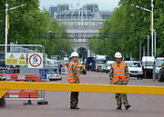 © Licensed to London News Pictures. 18/07/2012. Westminster, UK. Soldiers at The Mall. Soldiers, police and security contractors perform security checks around Olympic sites in Westminster today, 18th July 2012. Photo credit : Stephen Simpson/LNP