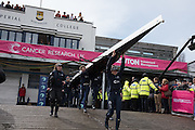 London. UNITED KINGDOM.  162nd BNY OUWBC, carry their boat out  The 71st Newton Women's Boat Race on the Championship Course, River Thames, Putney/Mortlake.  Sunday  27/03/2016    [Mandatory Credit. Intersport Images]<br /> <br /> Oxford University Women's Boat Club {OUWBC} vs Cambridge University Women's Boat Club {CUWBC} <br /> <br /> Oxford, Crew Cox &ndash; Morgan Baynham-Williams, Stroke &ndash; Lauren Kedar, 7 &ndash; Maddy Badcott, 6 &ndash; Anastasia Chitty, 5 &ndash; Elo Luik, 4 &ndash; Ruth Siddorn, 3 &ndash; Joanneke Jansen, 2 &ndash; Emma Spruce, Bow &ndash; Emma Lukasiewicz