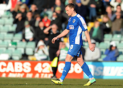 Dejection for Oldham Athletic's Brian Wilson as he is sent off - Photo mandatory by-line: Harry Trump/JMP - Mobile: 07966 386802 - 07/03/15 - SPORT - Football - Sky Bet League One - Yeovil Town v Oldham Athletic - Huish Park, Yeovil, England.