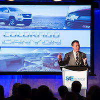 Engineer at General Motors speaks during a Colorado Canyon vehicle event for SAE Detroit
