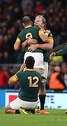 South Africa's Schalk Burger celebrating the win with South Africa's Fourie du Preez (Captain) during the Rugby World Cup Quarter Final match between South Africa and Wales at Twickenham, Richmond, United Kingdom on 17 October 2015. Photo by Matthew Redman.