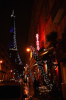 The Eiffel Tower, near Au Bon Accueil restaurant, .Paris 7 ...December 8, 2009..photograph by Owen Franken for the NY Times Au Bon Accueil, restaurant in Paris - photograph by Owen Franken