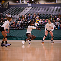 3rd year outside hitter Diana Lumbala (9) of the Regina Cougars in action during Women's Volleyball home game on November 3 at Centre for Kinesiology, Health and Sport. Credit: Arthur Ward/Arthur Images