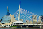 Canadian Museum for Human Rights (CMHR) and the Esplanade Riel Bridge<br /> Winnipeg<br /> Manitoba<br /> Canada