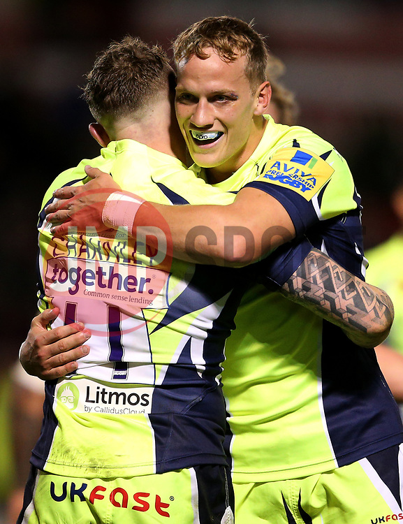 Josh Charnley of Sale Sharks celebrates with Will Addison - Mandatory by-line: Matt McNulty/JMP - 15/09/2017 - RUGBY - AJ Bell Stadium - Sale, England - Sale Sharks v London Irish - Aviva Premiership