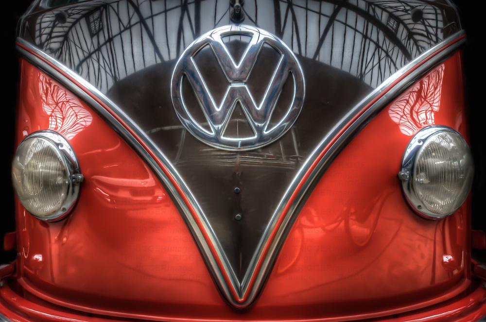 Classic car. VW camper van in red