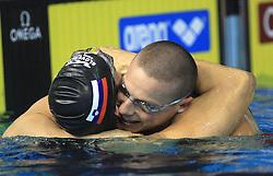 Swimmer Matjaz Markic, European Champion in 50m Men`s Breaststroke, and Emil Tahirovic, 3rd place (both SLO) at 3rd day of LEN European Short Course Swimming Championships Rijeka 2008, on December 13, 2008,  in Kantrida pool, Rijeka, Croatia