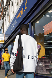 Lance enters Poundworld where he was able to obtain a utility knife in an exercise where a 17-year-old visited numerous big brand shops on Streatham High Road in an attempt to purchase a knife to illustrate the extent of knife control and age checking in London stores. Streatham, London, August 30 2019.