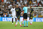 Referee Felix Brych talks to Cristiano Ronaldo of Juventus FC during the UEFA Champions League, Group H football match between Valencia CF and Juventus FC on September 19, 2018 at Mestalla stadium in Valencia, Spain - Photo Manuel Blondeau / AOP Press / ProSportsImages / DPPI