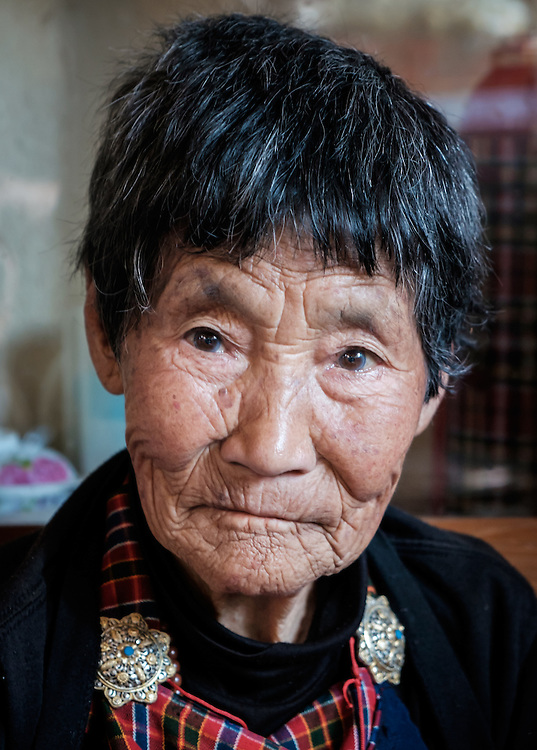 THIMPHU, BHUTAN - CIRCA OCTOBER 2014: Portrait of old Bhutanese woman in Thimphu