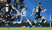 Brighton winger, Jamie Murphy (15) scores the opening goal during the Sky Bet Championship match between Brighton and Hove Albion and Bolton Wanderers at the American Express Community Stadium, Brighton and Hove, England on 13 February 2016.