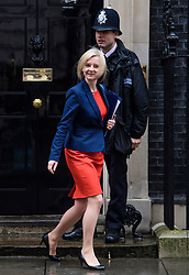 © Licensed to London News Pictures. 08/03/2017. London, UK. Lord Chancellor and Secretary of State for Justice LIZ TRUSS leaves Downing Street following a cabinet meeting before British chancellor Philip Hammond delivers his 2017 Budget to Parliament. Photo credit: Ben Cawthra/LNP
