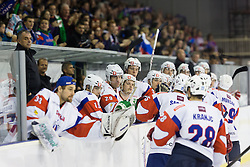 Players of Slovenia celebrate after scoring a goal during ice-hockey match between Slovenia and Austria in Slovenia Euro ice hockey challenge, on November 10, 2012 at Hala Tivoli, Ljubljana, Slovenia. (Photo By Matic Klansek Velej / Sportida)