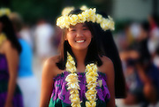 Hula girl with lei, Waikiki, Oahu, Hawaii