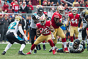 San Francisco 49ers running back Matt Breida (22) carries the ball against the Jacksonville Jaguars at Levi's Stadium in Santa Clara, Calif., on December 24, 2017. (Stan Olszewski/Special to S.F. Examiner)